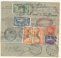 Frankreich Michel No. 100 , 139 , 161 , 182 , 216 auf Paketkarte Perfin