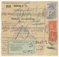 Frankreich Michel No. 161 , 235 , 241 auf Paketkarte Perfin
