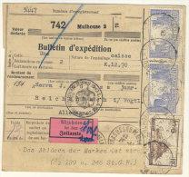 Frankreich Michel No. 161 , 197 ,  235 , 240 , 241 auf Paketkarte Perfin