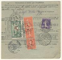 Frankreich Michel No. 161 , 182 ,  216 auf Paketkarte
