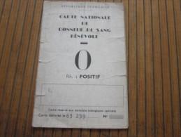 1958 Carte Nationale De Donneur De Sang Bénévole République Française Groupe O Positif - Cartes