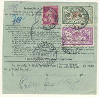 Frankreich Michel No. 181 , 182 ,  185 auf Paketkarte Perfin