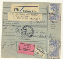 Frankreich Michel No. 235 , 241 auf Paketkarte Perfin