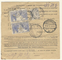 Frankreich Michel No. 235 , 241 auf Paketkarte