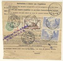 Frankreich Michel No. 238, 240 ,  241 auf Paketkarte
