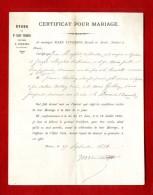 CERTIFICAT POUR MARIAGE   EDUDE DE MARS VINDRIOS PENNE 47  -  FAMILLE DESPLATS AUDHUY  FRESPECH MASSOULES 1881 - Mariage