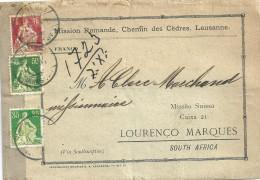 """Paketadresse  """"Mission Romande Lausanne"""" - Lourenço Marques SA             1909 - Lettres & Documents"""