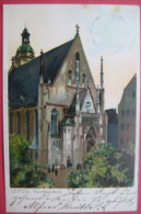 Leipzig - Künstlerkarte (Lithographie Ottmar Zieher, München): Thomaskirche - Leipzig