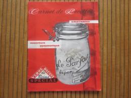 """1950 Vintage Carnet De Recettes Publicité"""" Le Parfait"""" Verrerie Mécanique Champenoises De Reims Famila Wiss >>voir >> - Gastronomie"""