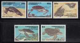 Dominica MNH Scott #2103-#2107 Set Of 5 Turtles With 'Save The Turtles' Overprint - Dominique (1978-...)