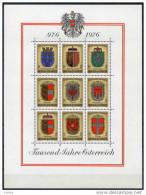 ÖSTERREICH 1976 ** Wappen Der Bundesländer - Block MNH - Briefmarken
