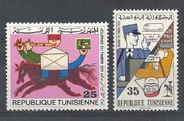 1970  Tunisie N°  677 678  Nf**  . Cheval ,  Facteur  Journée Du Timbre - Tunesië (1956-...)