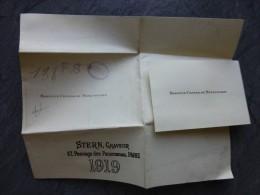 Baronne Conrad De  MEYENDORFF, Carte Visite Et Modèle Original Imprimerie Stern, 1919, UNIQUE ; Ref849 - Visiting Cards