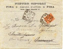 - ITALIE - Lettre PISA Pour PONTE-GINORI Pour CINIGIANO 23-12-1894 - Bel Affranchissement Philatélique A ETUDIER - - 1878-00 Umberto I