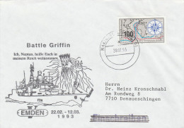 1993 God NEPTUNE EVENT COVER NEPTUNE WELCOME To My KINGDOM From GERMAN NAVY Ship Emden Stamps Mythology Germany - Mythology