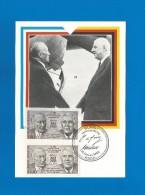 BRD / Frankreich 1988  Mi.Nr.1350 + 2636 , EUROPACEPT Sympathie Mitläufer 25 Jahre Deutsch-Französische - Maximum Karte - Europa-CEPT