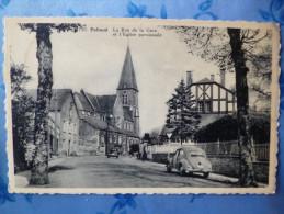 CP - Paliseul - La Rue De La Gare Et L'Eglise Paroissiale + VW Cox - Paliseul