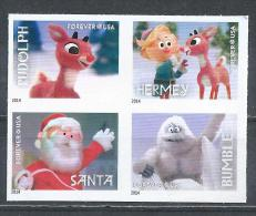 USA. Scott # 4946-49c, MNH. Pane Of 4 From Booklet Imperforate. Christmas Rudolph The Red Nose Reindeer 2014 - Nuevos