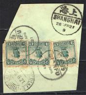 CINA - 28 APRILE 1921 - SHANGHAI CANCELLATION - FRAGMENT - 1912-1949 Repubblica