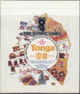 TONGA, 1980 1p OLYMPICS  SURCHARGE MNH - Tonga (1970-...)