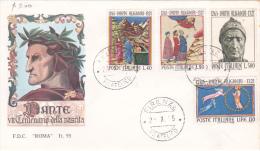 Italy 1965 Dante  FDC - 6. 1946-.. Republic