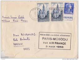 LETTRE PREMIERE LIAISON AERIENNE PARIS MOSCOU 3 AOUT 1958  AVEC BANDE PUB  PROVINS Voir Verso - Marcophilie (Lettres)