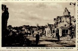 62-BOULOGNE SUR MER..RUE THIERS APRES LA GUERRE...CPSM PETIT FORMAT ANIMEE - Boulogne Sur Mer