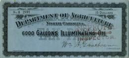 Etats Unis, EE UU, FISCALES, Revenues, Fiscaux. NORTH CAROLINA, Tax Paid Illuminating Oil, 15 Dollars - United States