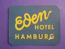 HOTEL PENSION EDEN HAMBURG GERMANY DEUTSCHLAND ALLEMAGNE BLUE TAG DECAL STICKER LUGGAGE LABEL ETIQUETTE AUFKLEBER BERLIN - Hotel Labels