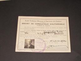 ECOLE TECHNIQUE MOYENNE ET SUPERIEURE DE CHARLEROI-BREVET DE CONDUCTEUR D'AUTOMOBILE-Langenaken Pierre Del. Le 10/9/33 - Historical Documents