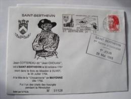 53 SAINT BERTHEVIN - 1er Jour Flamme Jean Chouan 28 -5 -1983 Sur Enveloppe Entière Illustrée - Marcophilie (Lettres)