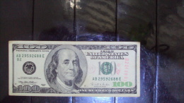 100 Dollar Bill / Banknote : Error Inverted Paper Water Mark On Top Left Corner - Abarten