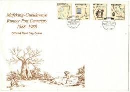 BOTSWANA - 1988 - Mafeking-Gubulawayo, Runner Post Centenary - SHOSHONG - FDC - Botswana (1966-...)