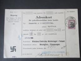 Finnland 1928 Adresskort / Paketkarte Mit Hakenkreuz ASEA / Kupong. Allmänna Elektriska Aktieboget - Cartas