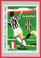 [MD0423] JUVENTUS - JUVE - CAMPIONE D´ITALIA 1994/1995 - RIPROD. FRANCOBOLLO - CON ANNULLO 5.6.1995 - CARTOLINEA - Calcio