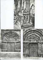 93 Seine Saint Denis- ABBAYE De SAINT DENIS -Lot De 3 Cpm Voir Scan R/V  Des 3 Cartes(portail,Porte,Tombeau Louis XII - Saint Denis