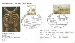 Zaire Congo 1985 FFC Frankfurt-Douala-Kinshasa Code Letter Y Lufthansa Airbus A300 First Flight Cover - Zaïre