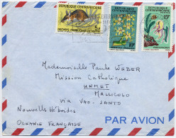 1967 NOUVELLES HEBRIDES LETTRE PAR AVION DE BANGUI CENTRAFRIQUE POUR MALLICOLO VIA SANTO - Brieven En Documenten