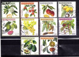 2011 Barbados - Definitives Fruits And Trees 10 V., Frutas , Früchte, Used, Oblitere - Frutta