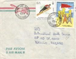 Madagascar 1984 Tamatave-Anjoma Olympic Games Sarajevo High Jump Skiing Cover - Madagaskar (1960-...)