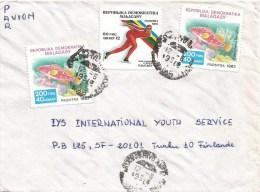 Madagascar 1990 Antananarivo Olympic Games Calgary Ice Speed Skating Fish Cover - Inverno