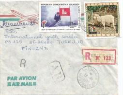 Madagascar 1983 Antsirabe Olympic Games Lake Placid Skiing Mohair Sheep AR Advice Of Receipt Registered Cover - Madagaskar (1960-...)