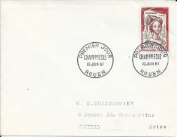 TIMBRE N° 1301  - 1ER JOUR   -  1961  -   CHAMPMESLE  -  ROUEN  -  SEUL SUR LETTRE - 1960-1969