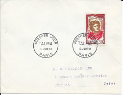 TIMBRE N° 1302  -1ER JOUR   -  1961  -   TALMA   /  PARIS  -  SEUL SUR LETTRE - 1960-1969