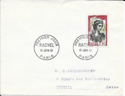 TIMBRE N° 1303  - 1ER JOUR   -  1961  -   RACHEL   /  PARIS - SEUL SUR LETTRE - 1960-1969