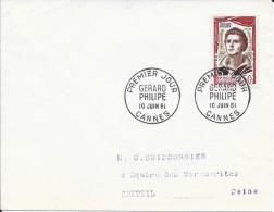 TIMBRE N° 1305  - 1ER JOUR   -  1961  -   GERARD PHILIPPE  /  CANNES - SEUL SUR LETTRE - 1960-1969