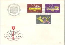 """Schweiz Suisse 1949: Zu 291-293 Mi 519-521 Yv 471-473 """"100 Jahre Post"""" Mit Sonder-o BERN 27.V.1949 - Poste"""
