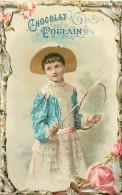 Chromos Réf. A 14-731  POULAIN  Bords Découpés  Jeune Fille Au Cerceau  Roses - Poulain