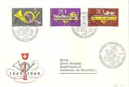 """Schweiz Suisse 1949: Zu 291-293 Mi 519-521 Yv 471-473 """"100 Jahre Post""""  Sonder-o Post-Reiter BERN  27.V.1949 - Poste"""