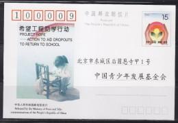 = Carte Postale Entier De Chine Aide Au Retour à L'école Neuf - 1949 - ... République Populaire